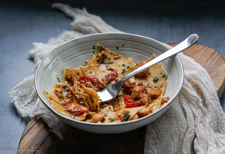 maltagliati pasta with cod and tomatoes