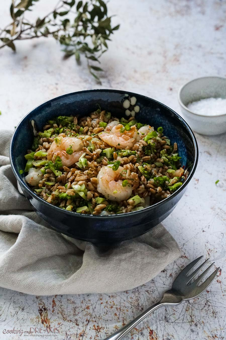 bowl with farro, broccoli and shrimps on a towel