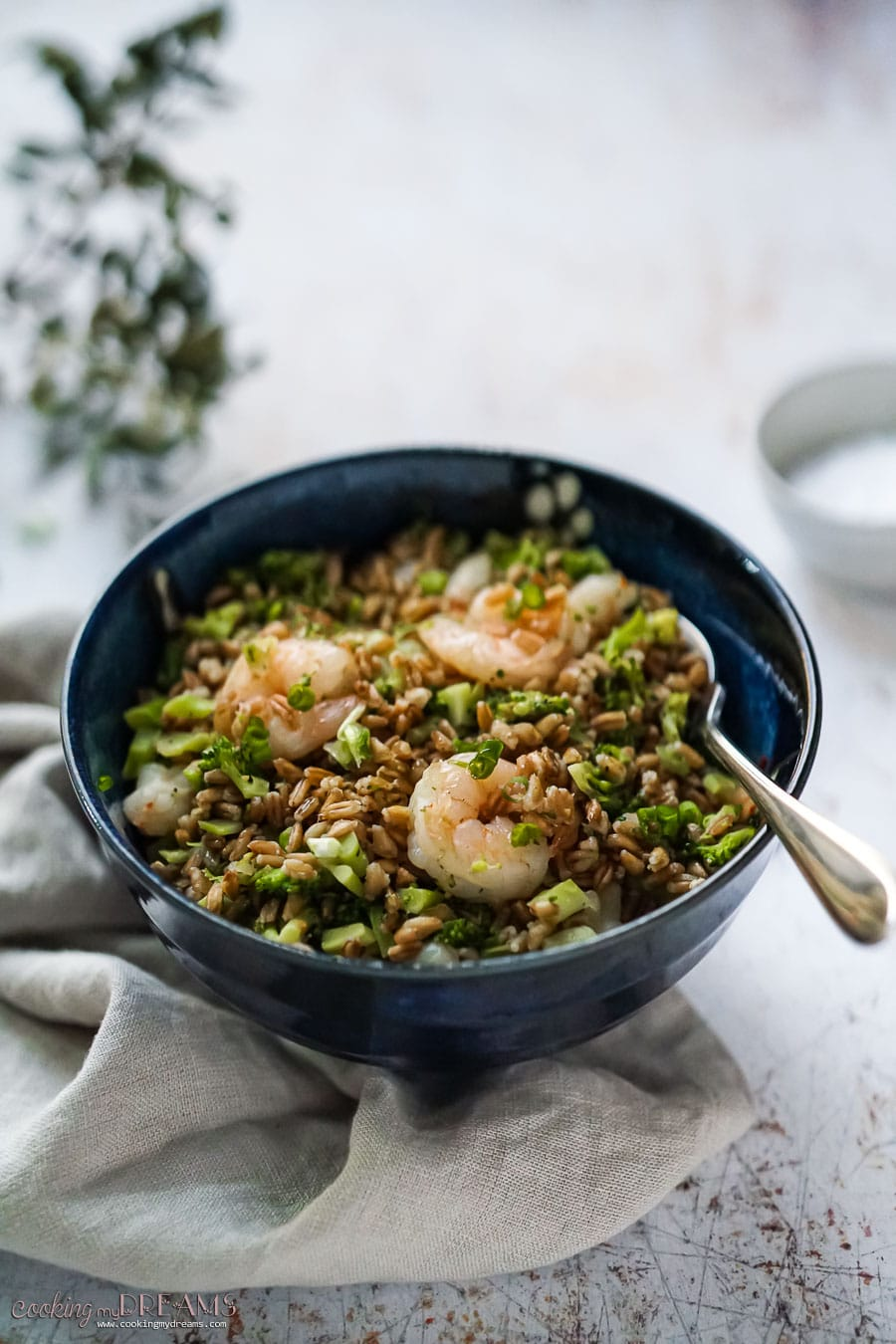 bowl with farro, broccoli and shrimps and a fork