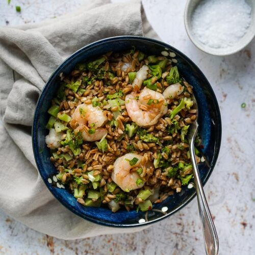bowl with farro, broccoli and shrimps