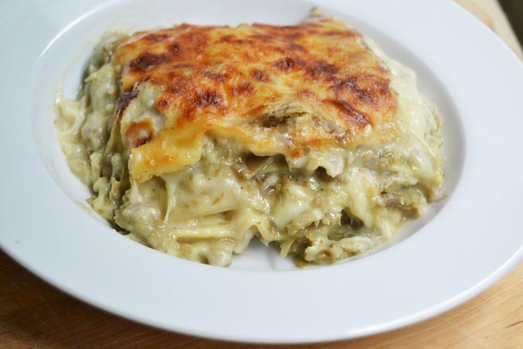 portion of artichoke and mozzarella lasagna on a plate