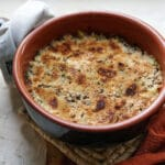terracotta pot with rice and cabbage bake