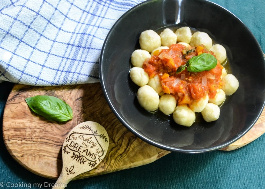 Ricotta Gnocchi with meatless Bolognese sauce