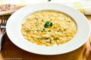 Orange squid risotto