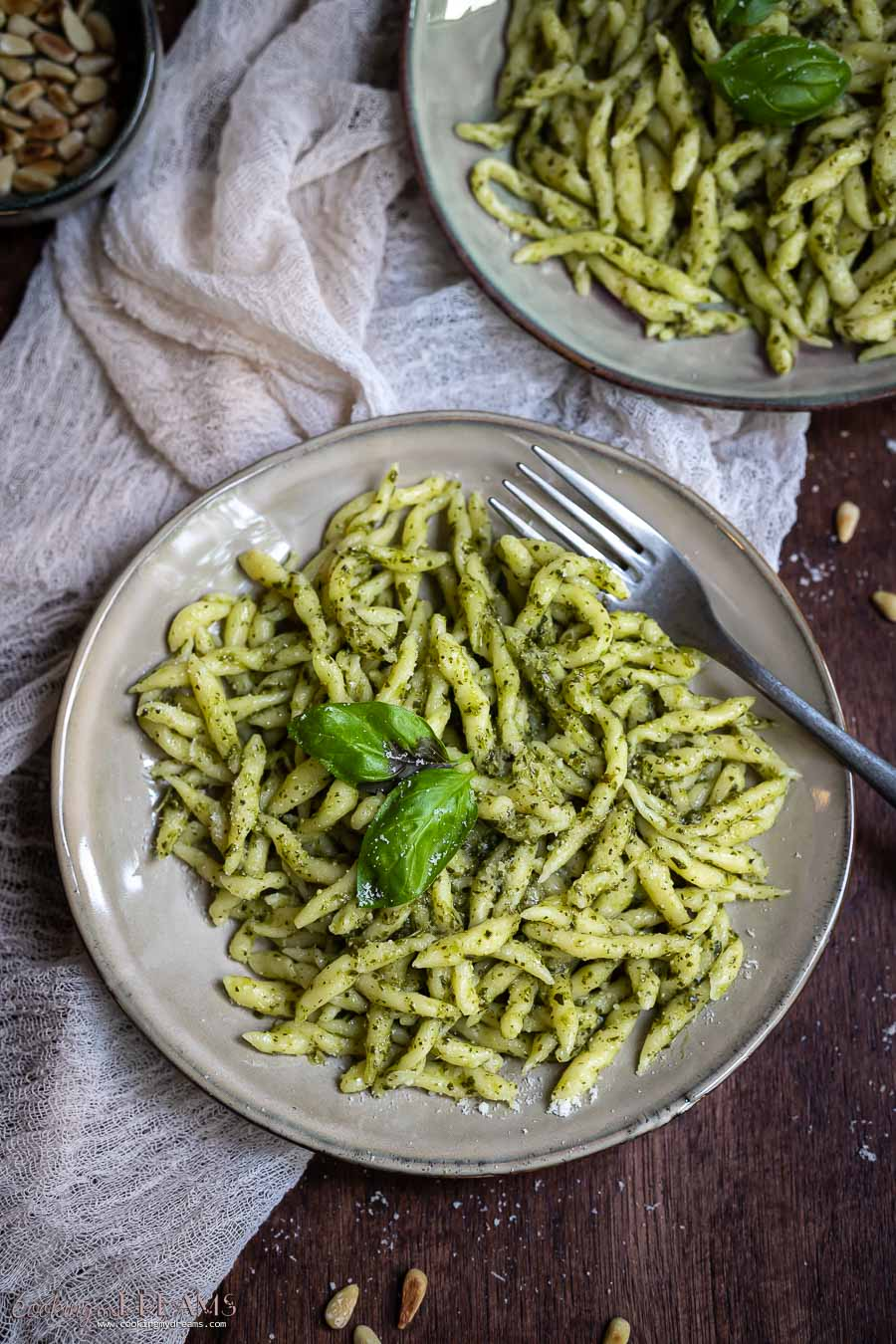plate of trofie pasta with pesto