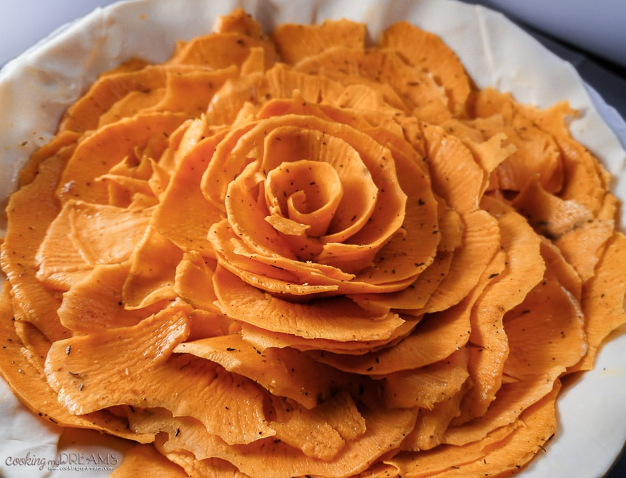 close up of sweet potato slices arranged as a flower