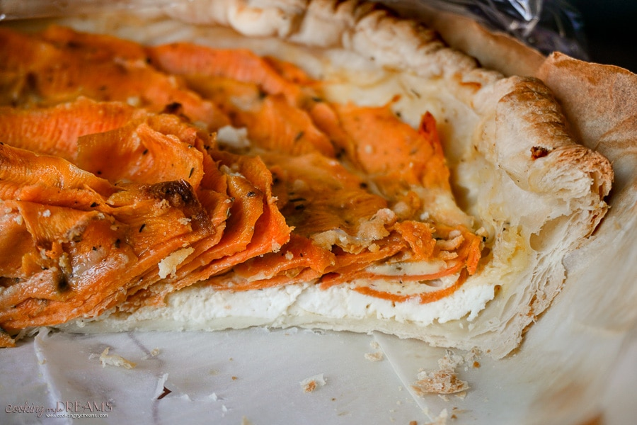 slice of goat cheese and sweet potato savory pie