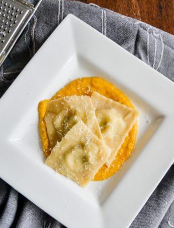 Porcini Mushroom Ravioli with Pumpkin Sauce