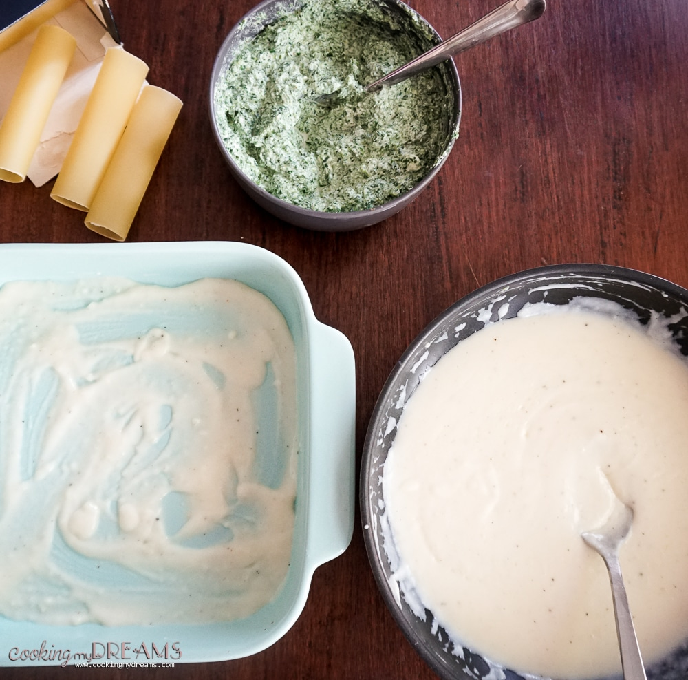 Ingredients layed on the table to assemble the cannelloni dish
