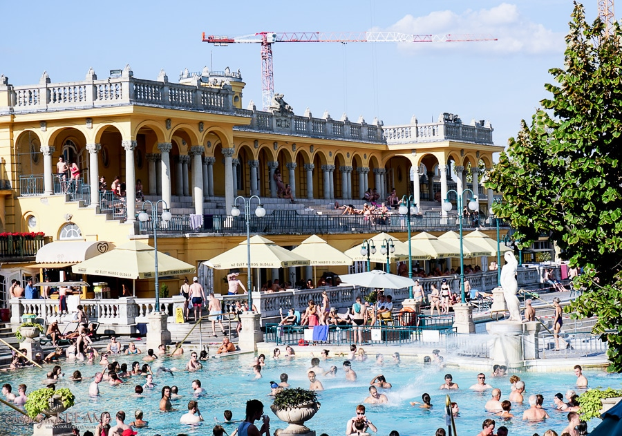 thermal baths of Budapest with sunny weather