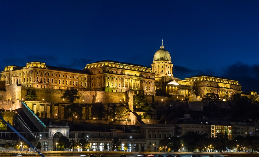 Budapest castle at night