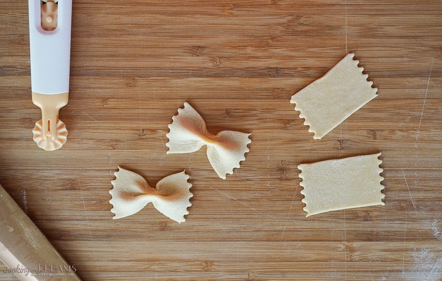 Steps of making farfalle pasta shape from a cut rectangle