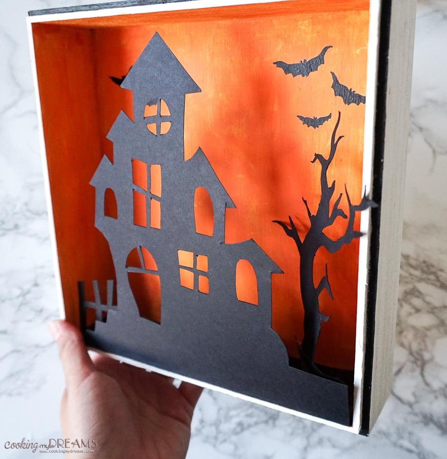 halloween shadow box orange black silhouette haunted house
