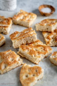squares of classic italian focaccia on the table