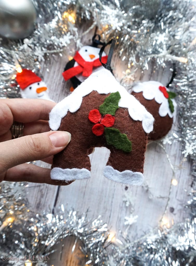 gingerbread house felt ornament