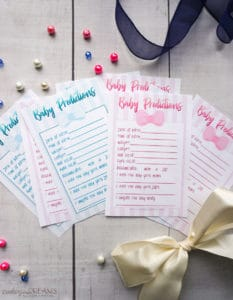 Baby Shower Prediction Cards pink and blue