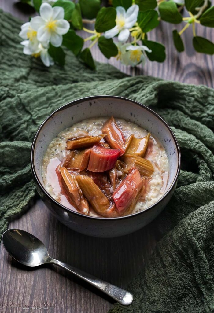 bowl of oatmeal with rhubarb