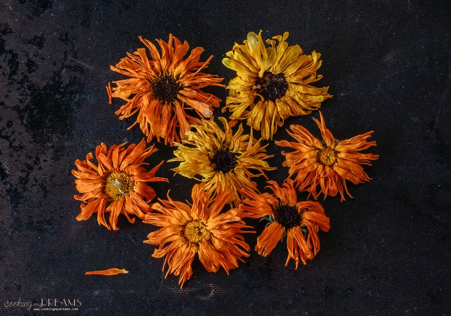dried marigold flowers on the table