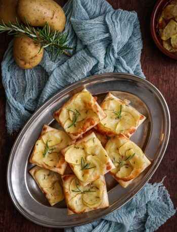 rosemary potato tarts on a serving tray