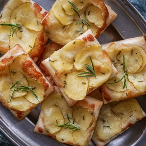 close up of potato puff patry tarts