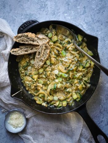 overhead of a skillet with eggs and zucchini and slices of bread