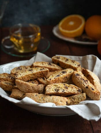 tray full of orange and chocolate biscotti
