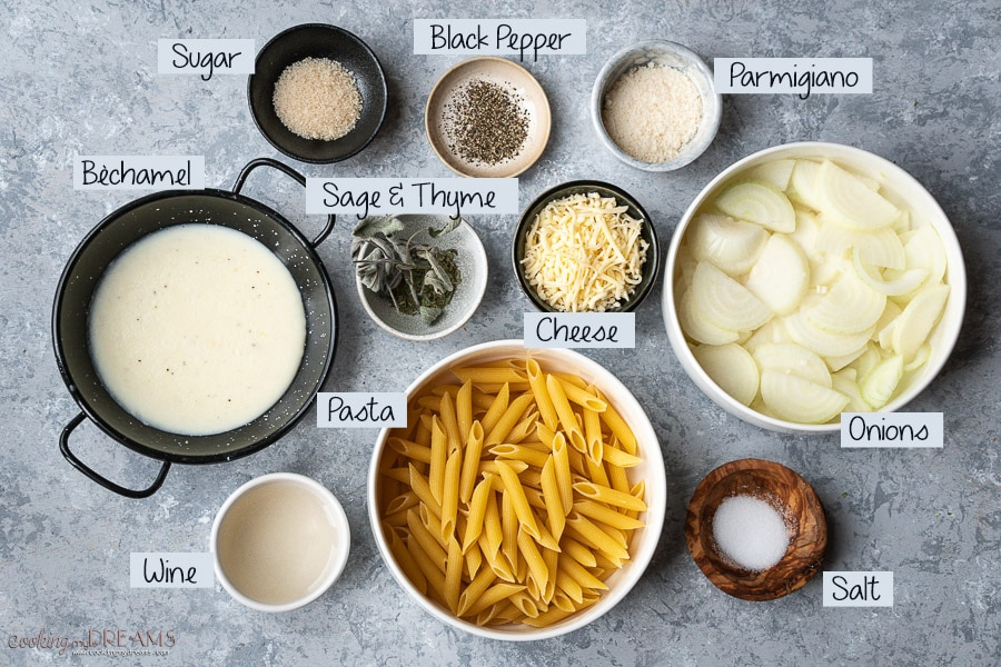 ingredients list to make the french onion pasta bake
