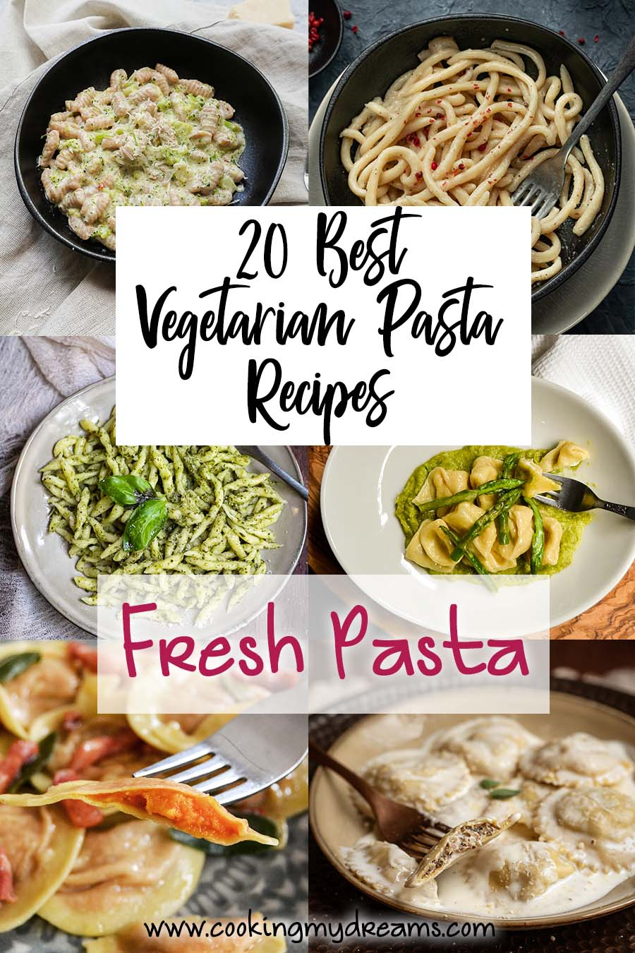 collage of best vegetarian fresh pasta recipes