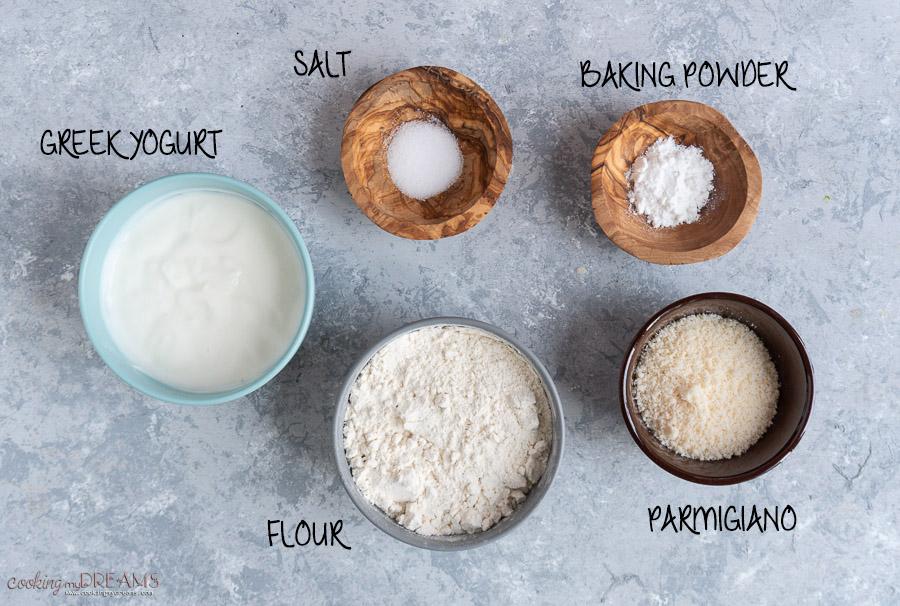 ingredients to make parmesan flatbreads