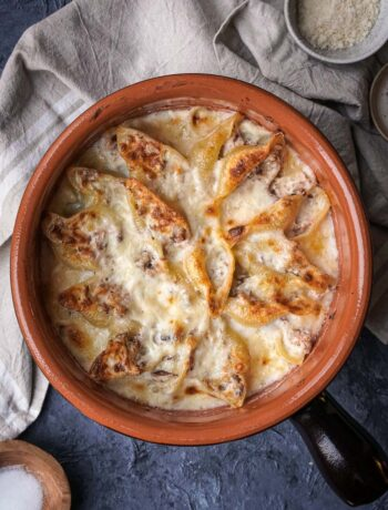 overhead baking dish with gratin mushroom ham pasta bake