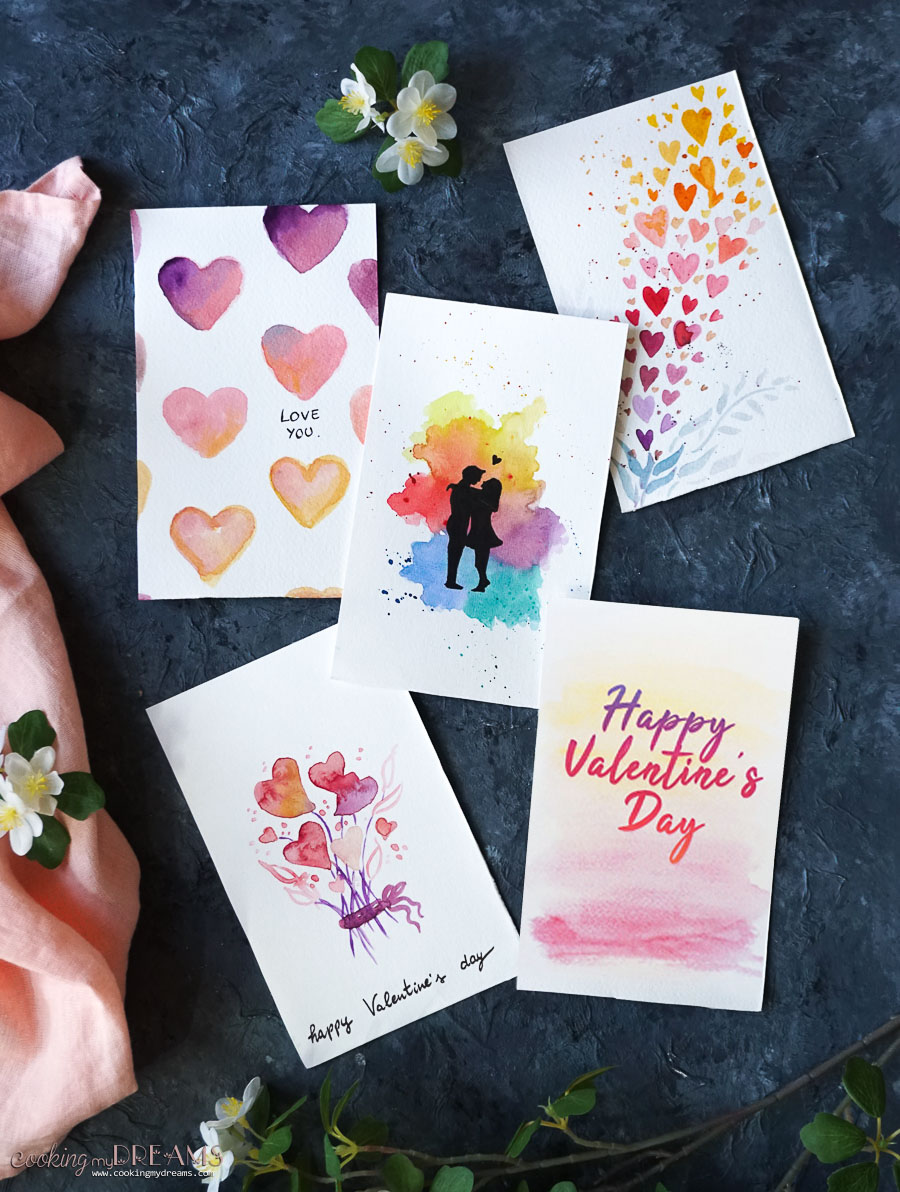 5 different printable valentine's day cards