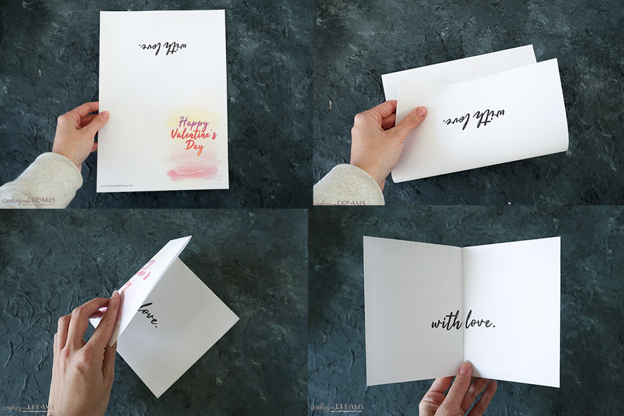 how to fold a printed valentine card