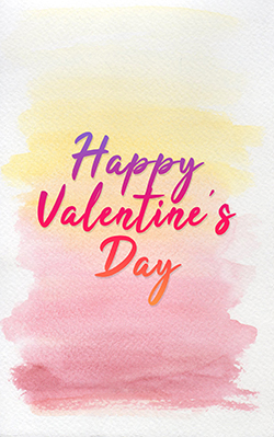 pink yellow watercolor with writing Happy Valentine's Day