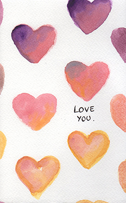 watercolor big hearts with written Love You
