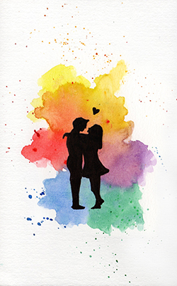 Rainbow background with couple in love black silhouette