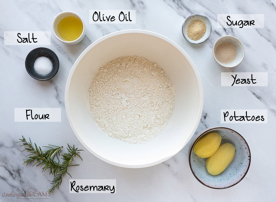 ingredients list for potato rosemary focaccia