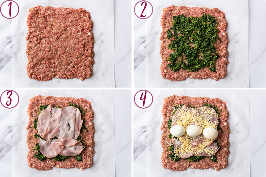 process shots on how to layer the stuffing