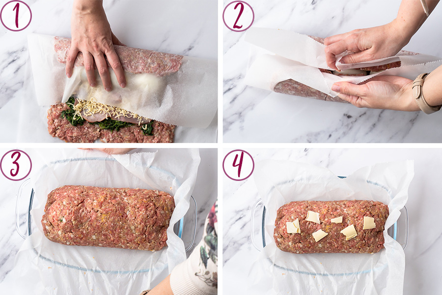process shots on how to roll the meatloaf