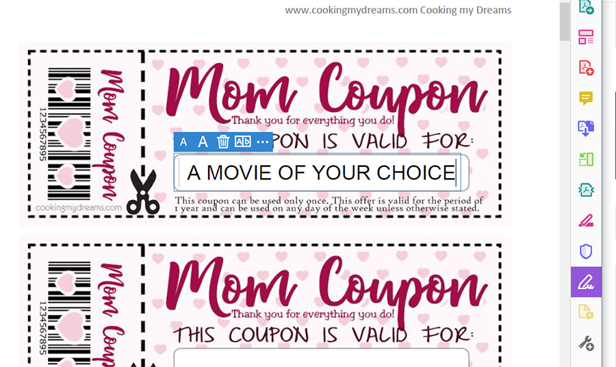 how to customize coupon in PDF