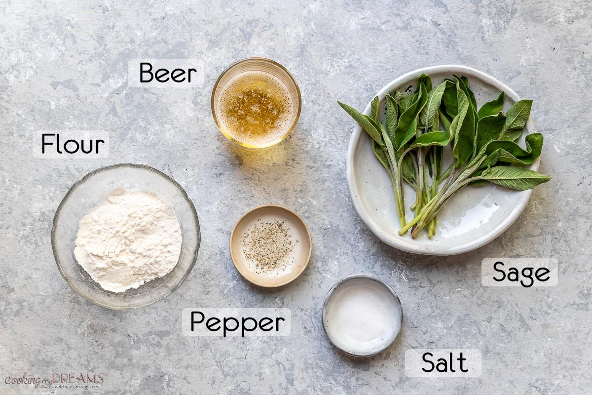 list of ingredients to make fried sage