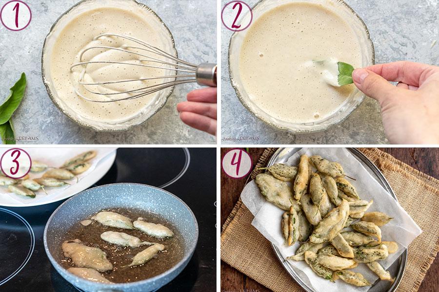 process shots on how to make fried sage