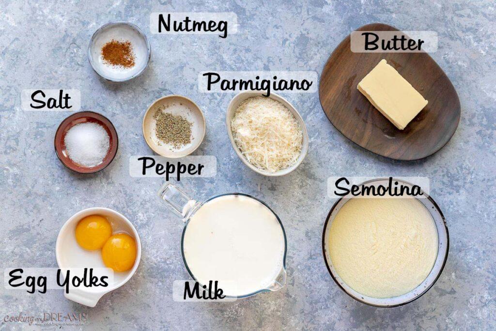 ingredient list to make semolina gnocchi