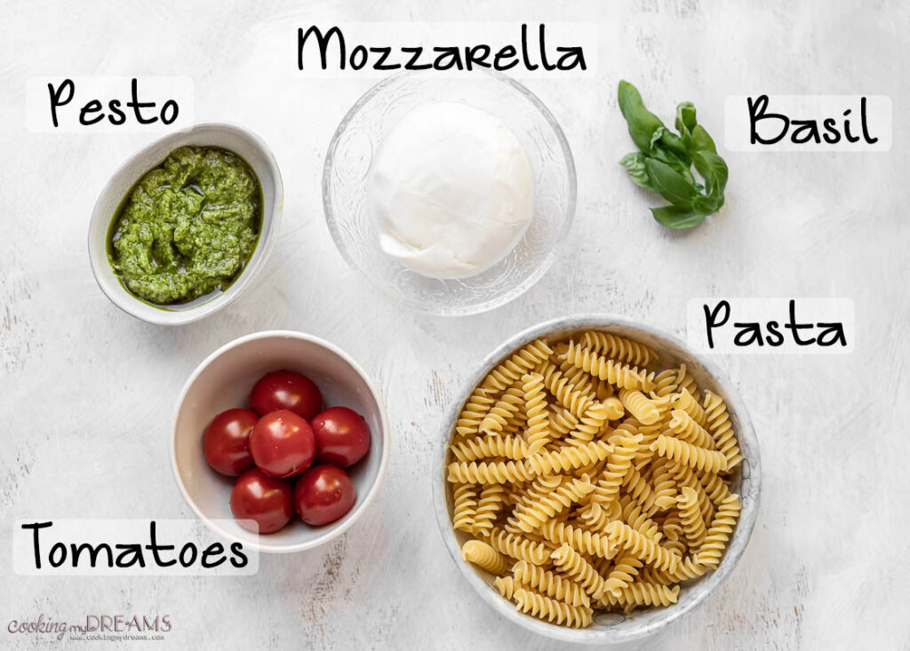 ingredients to make pesto caprese pasta salad
