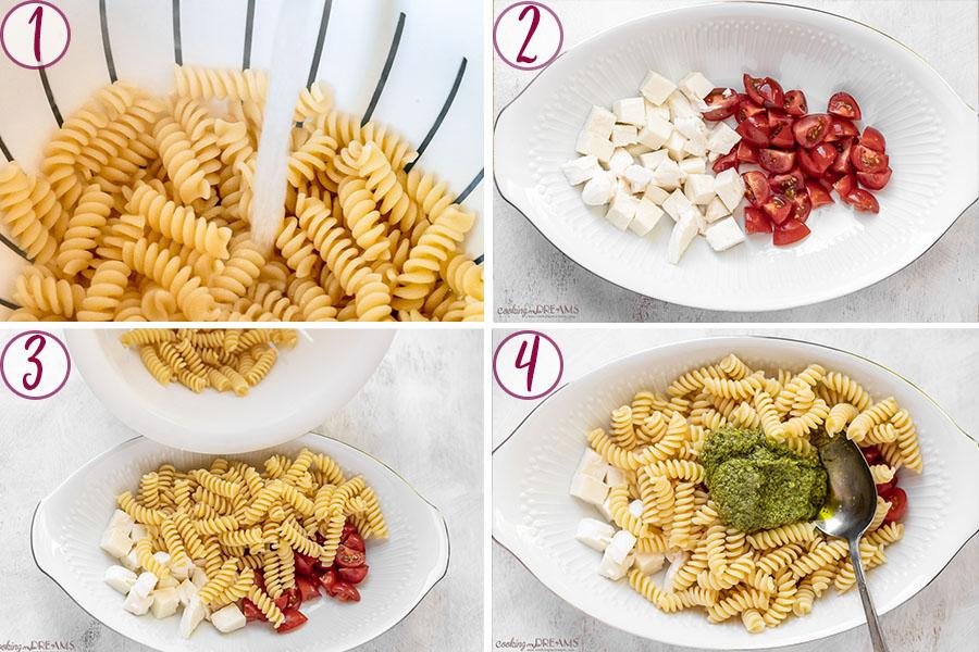 process steps to make pesto caprese pasta salad