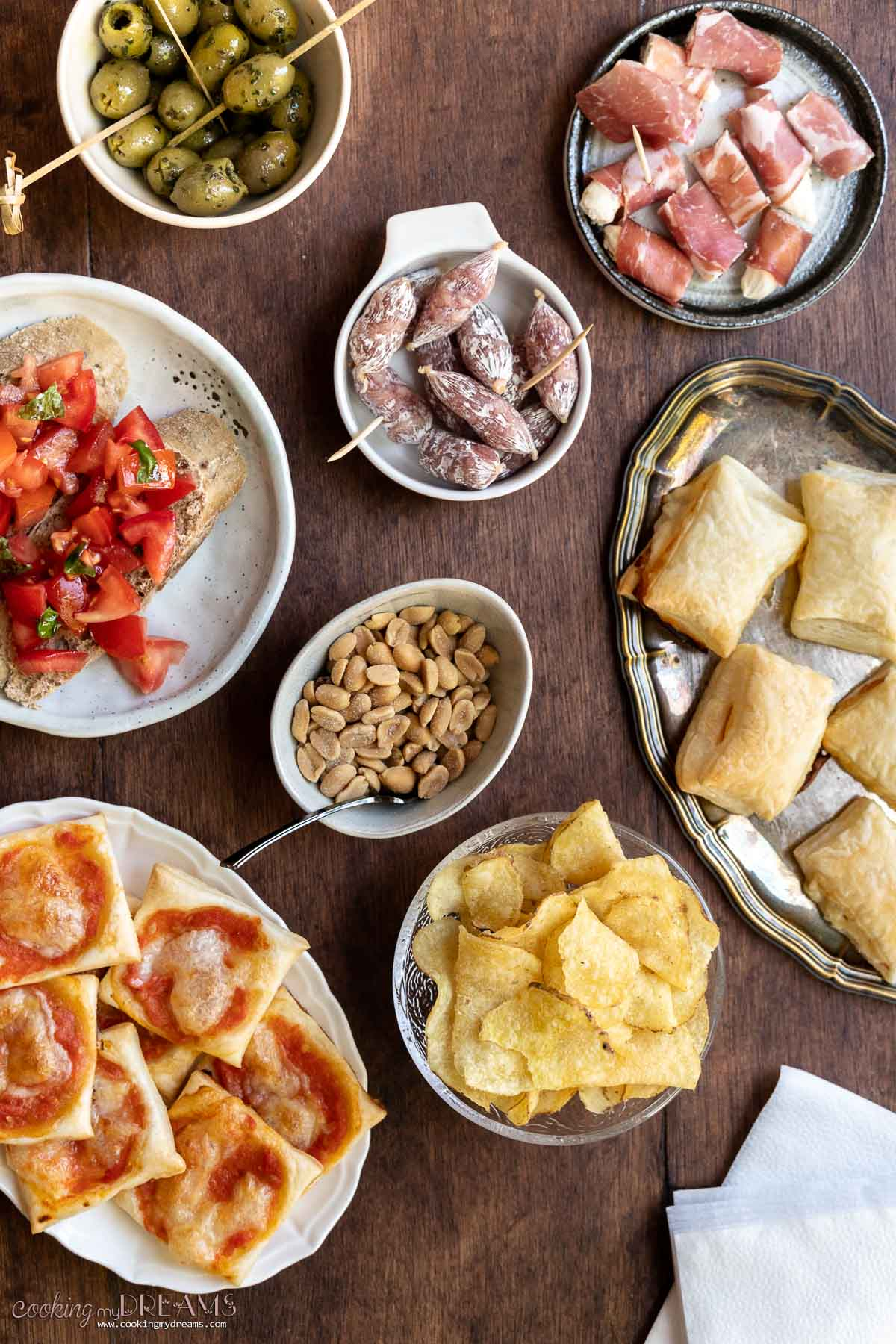 overhead of table full of food for aperitivo