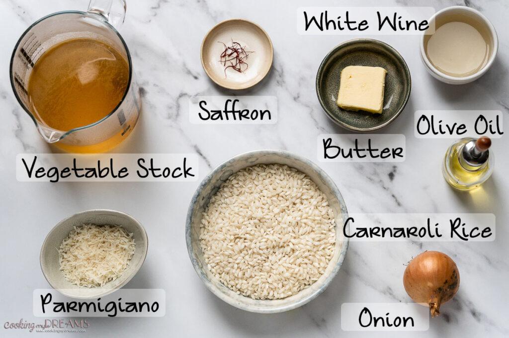 ingredient list for saffron risotto