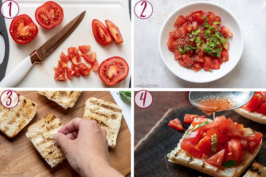 process shots on how to make tomato bruschetta
